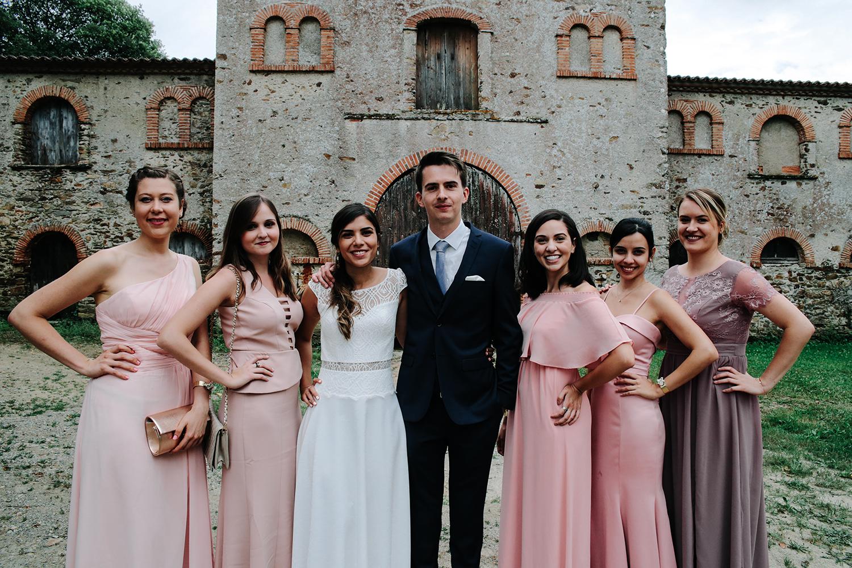 photo de groupe mariage demoiselles d'honneur